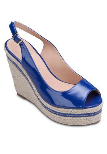繞踝露趾楔形zalora 心得跟鞋, 女鞋, 楔形涼鞋