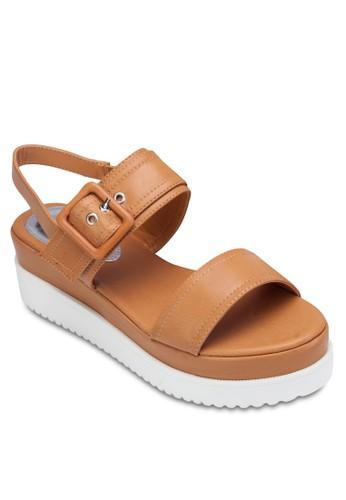 雙帶繞踝厚底涼zalora 心得鞋, 女鞋, 涼鞋