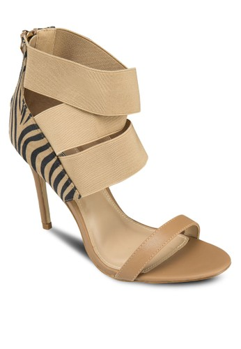 彈性寬帶高跟涼鞋, 女鞋, zalora 鞋評價細帶高跟鞋