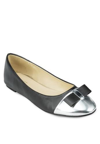 蝴蝶結拼色娃娃鞋, 女鞋,zalora退貨 芭蕾平底鞋