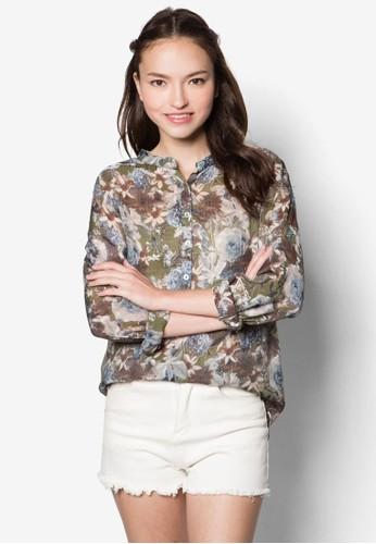 花卉圖案zalora 手錶長袖襯衫, 服飾, 服飾
