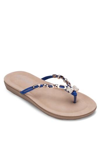 金飾人字夾腳拖, 女鞋, zalora 衣服尺寸涼鞋