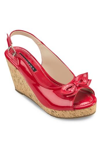 Pippzalora 鞋評價a 蝴蝶結露趾繞踝楔形鞋, 女鞋, 鞋