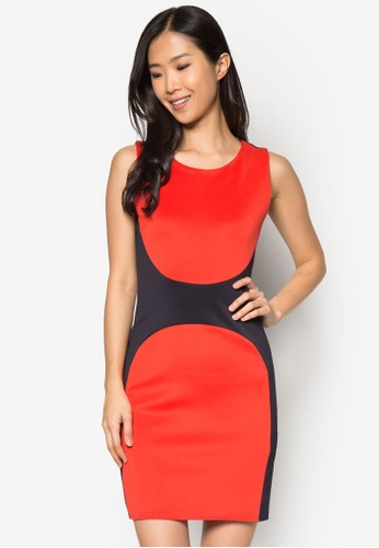 色塊無袖連身裙, 服飾, zalora taiwan 時尚購物網鞋子正式洋裝