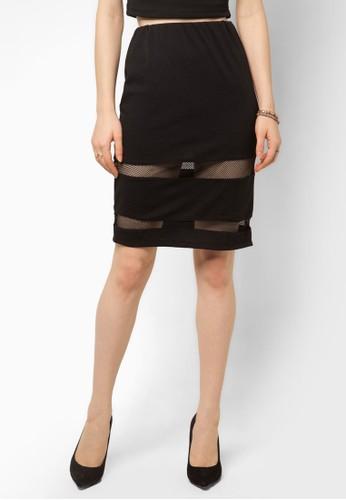網眼拼接鉛筆裙,zalora 評價 服飾, 服飾