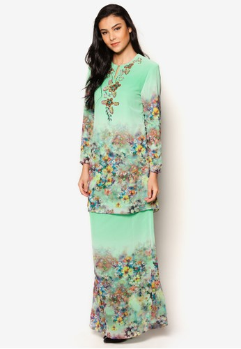 Chiffon With Printed Kurung Moden from Jasmina Collection in Green