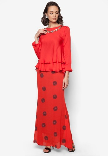 Midi Kurung 2 Layer Necklace from Zuco Fashion in Red