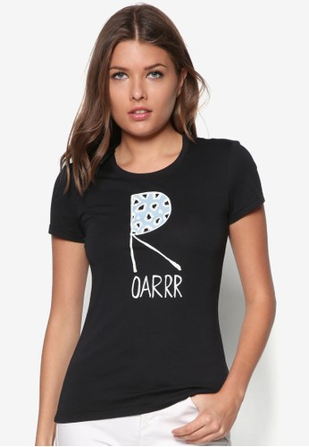 怒吼設計棉TEE, 服飾, esprit女外套T恤