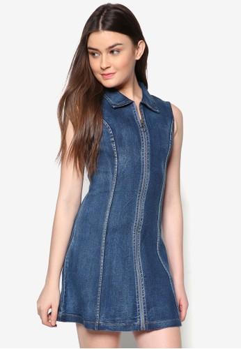 Love 拉鍊無袖丹寧藍色去zalora 評價, 服飾, 洋裝