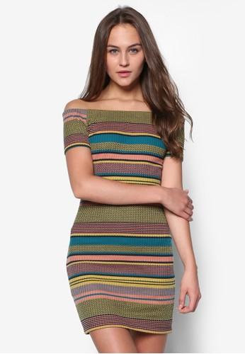 露zalora退貨肩條紋貼身連身裙, 服飾, 緊身洋裝