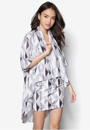 幾何印花開襟外套, 服飾, 毛衣&amzalora 鞋評價p; 針織外套