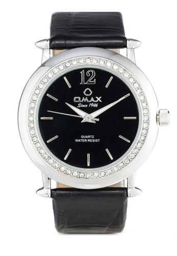 Omax AB06 閃鑽圓zalora 包包評價框仿皮手錶, 錶類, 其它錶帶