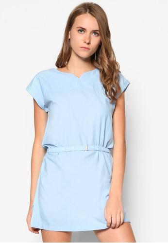 假腰帶棉質連身裙, 服mango 服飾門市飾, 洋裝