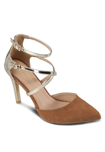 雙色拼接尖頭zalora taiwan 時尚購物網鞋子高跟鞋, 女鞋, 厚底高跟鞋
