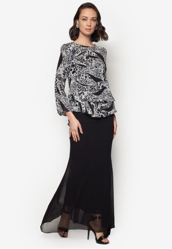 Midi Kurung 2 Layer from Zuco Fashion in Black and White