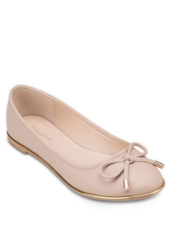 金屬邊飾蝴蝶結平底鞋, 女鞋, 芭蕾zalora 台灣平底鞋