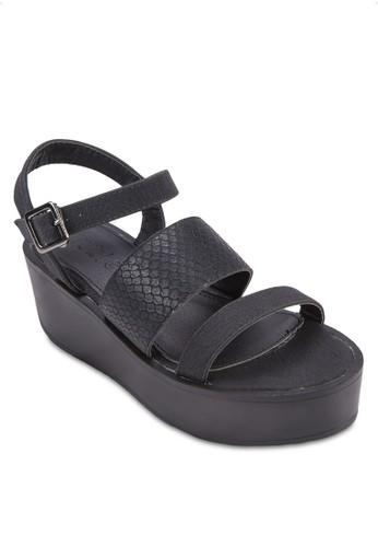 Banks 寬zalora退貨帶繞踝厚底涼鞋, 女鞋, 楔形涼鞋