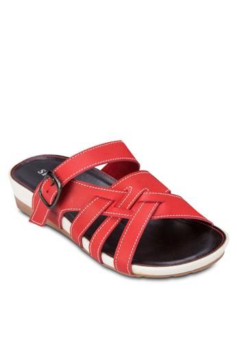 撞zalora 鞋評價色交叉帶厚底涼鞋, 女鞋, 鞋