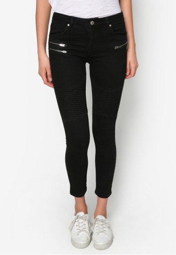 窄管zalora 鞋評價拉鍊騎士牛仔褲, 服飾, 緊身牛仔褲