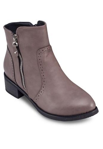 拉鍊雕花踝靴, 女鞋, zalora 評價鞋