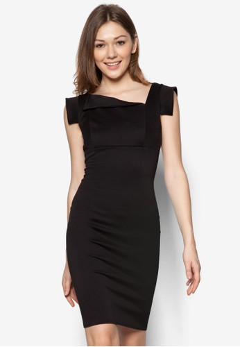 不對稱領zalora 手錶口連身裙, 服飾, 洋裝