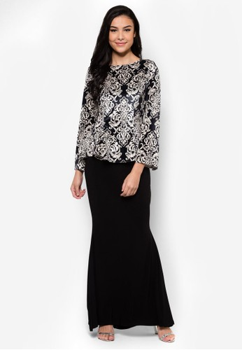 Mermaid Cut Midi Kurung from Zuco Fashion in Black and Multi