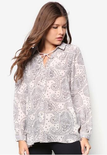 佩斯林印花繫帶長袖襯衫, 服飾, zalora 鞋評價服飾