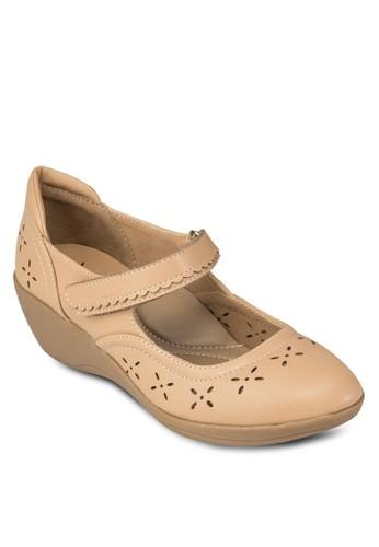 雕花魔術zalora 心得氈楔型跟鞋, 女鞋, 鞋