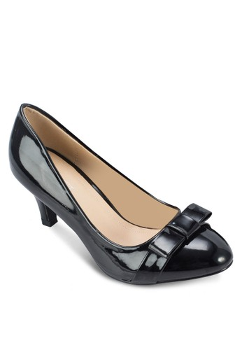 Carrie zalora 心得蝴蝶結漆面高跟鞋, 女鞋, 厚底高跟鞋