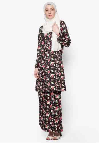 English Cotton Baju Kurung from Azka Collection in Black