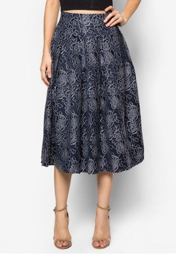 zalora鞋Premium 花卉傘擺及膝裙, 服飾, 及膝裙