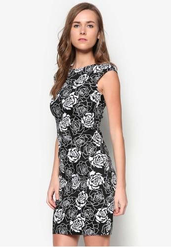 花卉zalora鞋子評價印花短袖連身裙, 服飾, 洋裝