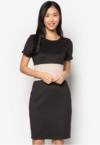 色塊短袖連身裙zalora 台灣, 服飾, 正式洋裝