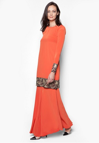 Grace Kurung Modern from Izzabell Couture in Orange