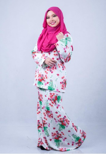 Ameena Printed Kurung Modern Premium from Adia Design in White and Pink and Green