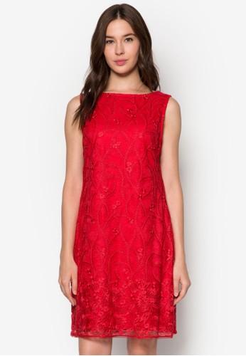 蕾絲鉤花直zalora 衣服尺寸筒連身裙, 服飾, 洋裝