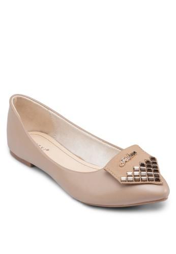 幾何鉚釘平底鞋, 女鞋, 芭蕾平底zalora 心得鞋