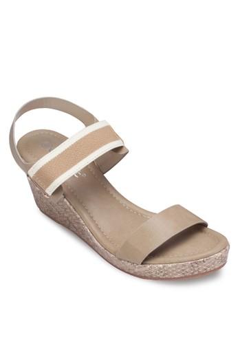 一字帶繞踝楔型跟涼鞋, 女鞋zalora 折扣碼, 楔形涼鞋