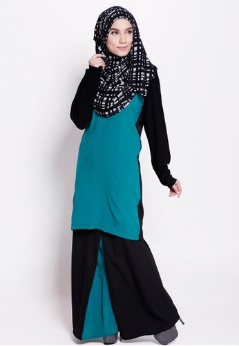 Zahra Kurung Moden from Marwa in Black and Green