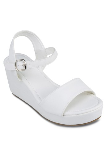 Daria 交叉zalora退貨踝帶厚底楔形鞋, 女鞋, 楔形鞋