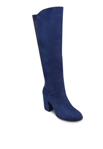 配色長筒高跟zalora 心得靴, 女鞋, 鞋