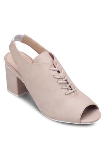繞踝魚口繫帶粗跟鞋,zalora 包包 ptt 女鞋, 高跟鞋