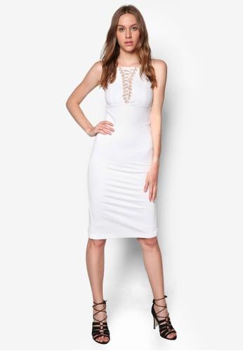 交叉帶貼身連身zalora 心得裙, 服飾, 洋裝