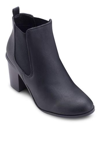 Dorian 仿zalora鞋子評價皮粗跟低筒靴, 女鞋, 鞋