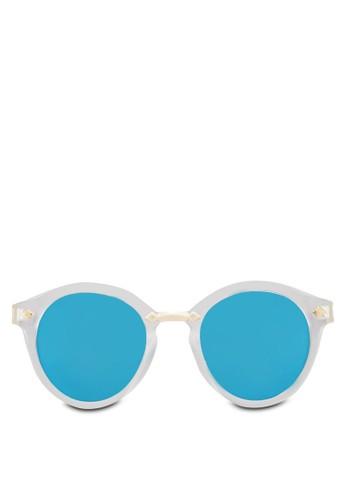 花卉圖案圓框太陽眼鏡, 飾品配件, zalora開箱飾品配件