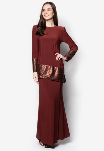 Sequin Midi Kurung from Zuco Fashion in Brown