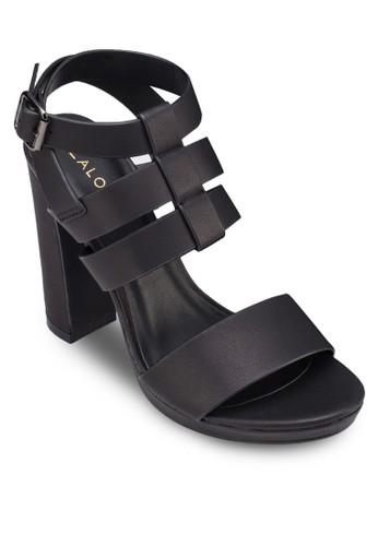 多帶繞踝粗高跟鞋, zalora 折扣碼女鞋, 厚底鞋