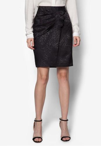Juju 抓褶豹紋鉛筆裙, 服飾,zalora鞋子評價 服飾