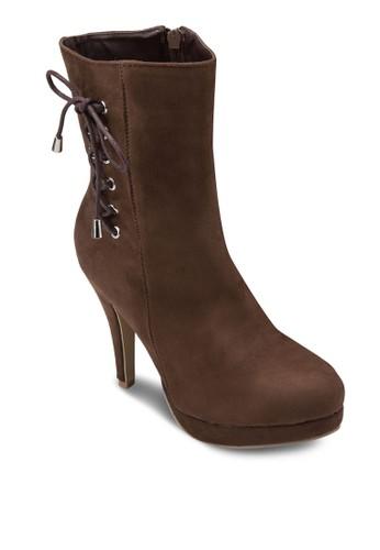 側繫帶高跟短靴, 女鞋,zalora taiwan 時尚購物網鞋子 靴子