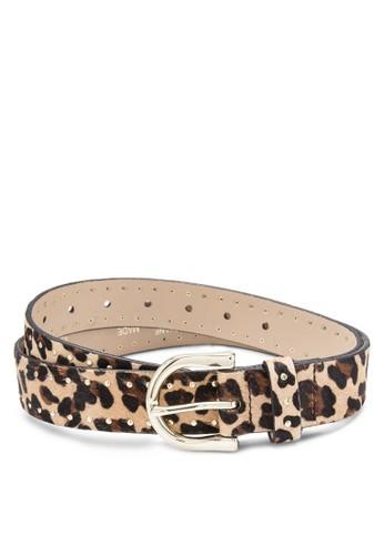 豹紋印花腰帶, zalora鞋飾品配件, 皮革